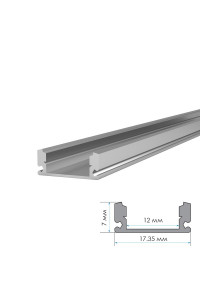 Профиль для LED лент накладной Пф-15 (комплект с полумат.рассеивателем) 2м