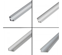 Профиль для LED лент накладной ПФ-16 полуматовый рассеиватель (комплект) 1м
