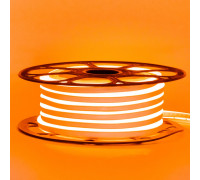 Лента неоновая оранжевая 12V smd2835 120лед 6Вт 8*16 PVC герметичная , 1м
