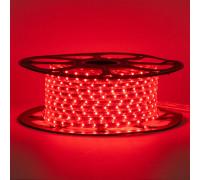 Лента светодиодная красная 220V smd2835 48лед 6Вт герметичная, 1м