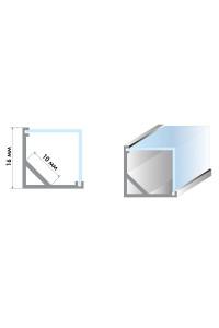 Профиль для LED лент угловой квадратный ПФ-15 (комплект с полумат.рассеивателем) 2м