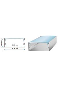 Профиль для LED лент широкий накладной ПФ-27 полуматовый рассеиватель (комплект) 2м